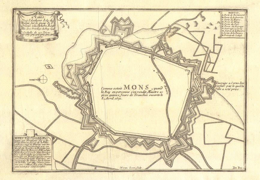Associate Product 'Comme estoit Mons…' en 1691. Siege of Mons. Town/city plan. DE FER 1705 map