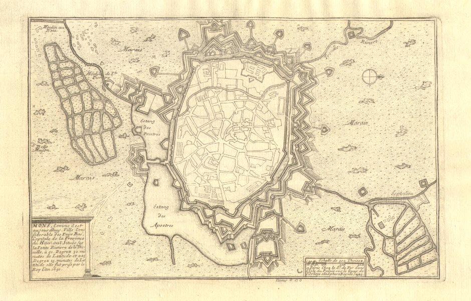 Associate Product 'Mons, comme il est aujourdhuy'. Town/city plan. Belgium. DE FER 1705 old map