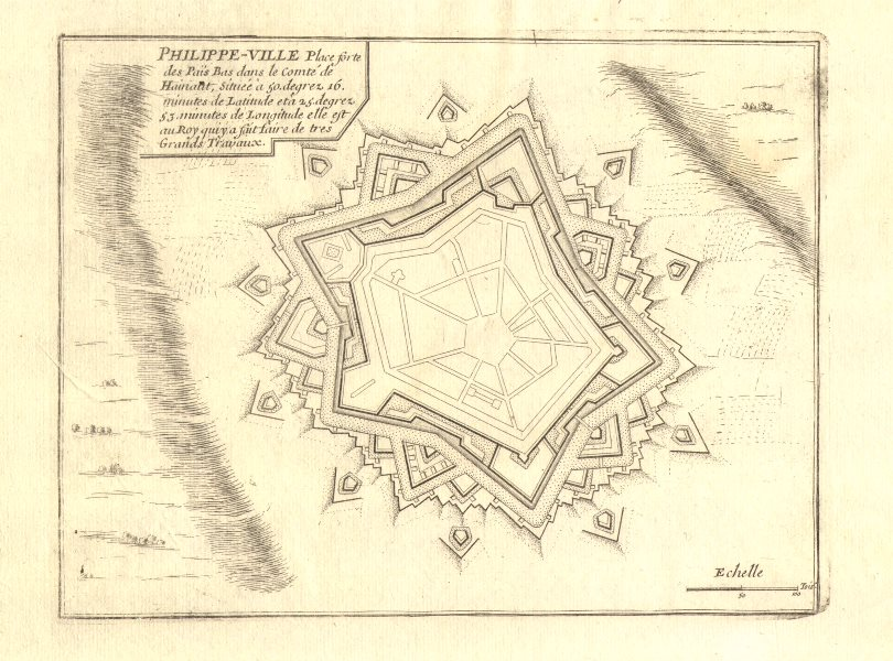 'Philippe-Ville'. Philippeville. Fortified town/city plan. DE FER 1705 old map