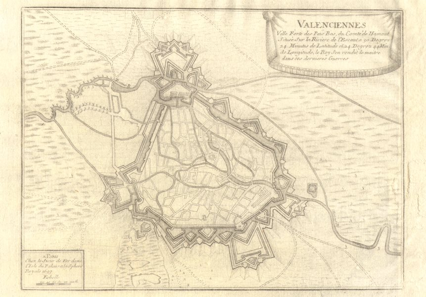Associate Product Valenciennes. Plan of town/city & fortifications. Nord. DE FER 1705 old map
