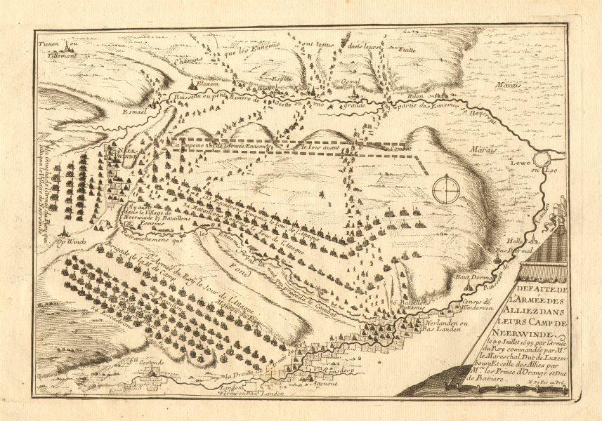 Associate Product 'Defaite de l'armée des alliez…' Battle of Landen 1693. DE FER 1705 old map