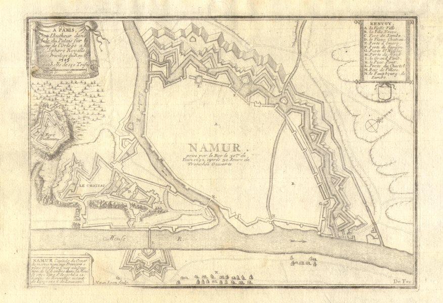 Associate Product Namur. Plan of town/city & fortifications. Belgium. DE FER 1705 old map