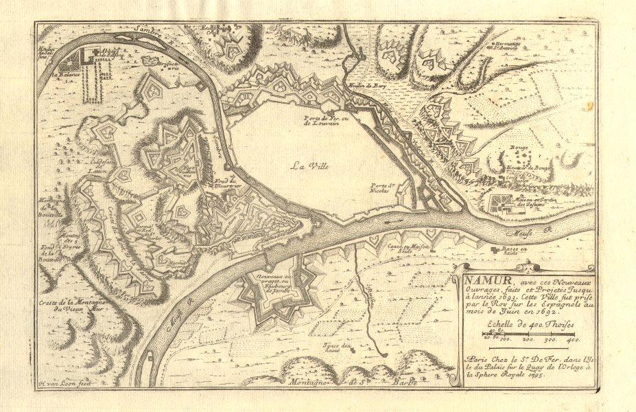 Associate Product 'Namur, avec ces nouveaux ouvrages…'. Town/city plan in 1693. DE FER 1705 map