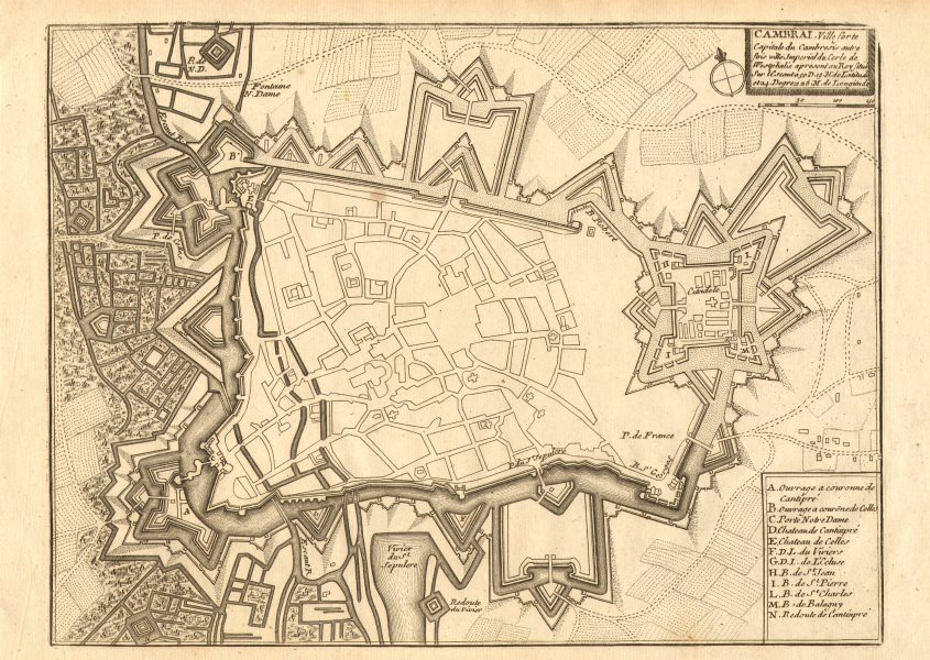 Associate Product Cambrai. Plan of town/city & fortifications. Nord. DE FER 1705 old antique map