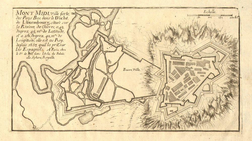 Associate Product 'Mont Midi'. Montmédy fortified town/city plan. Meuse. DE FER 1705 old map