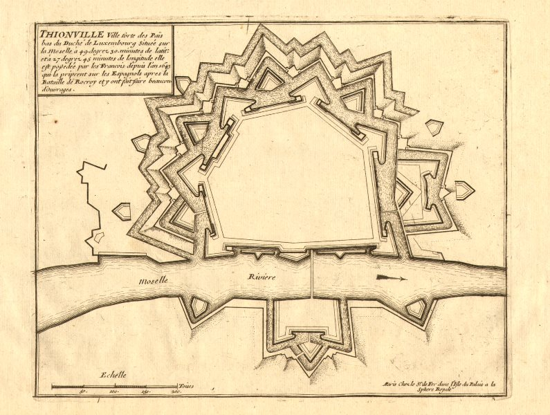 Thionville. Plan of town/city & fortifications. Moselle. DE FER 1705 old map