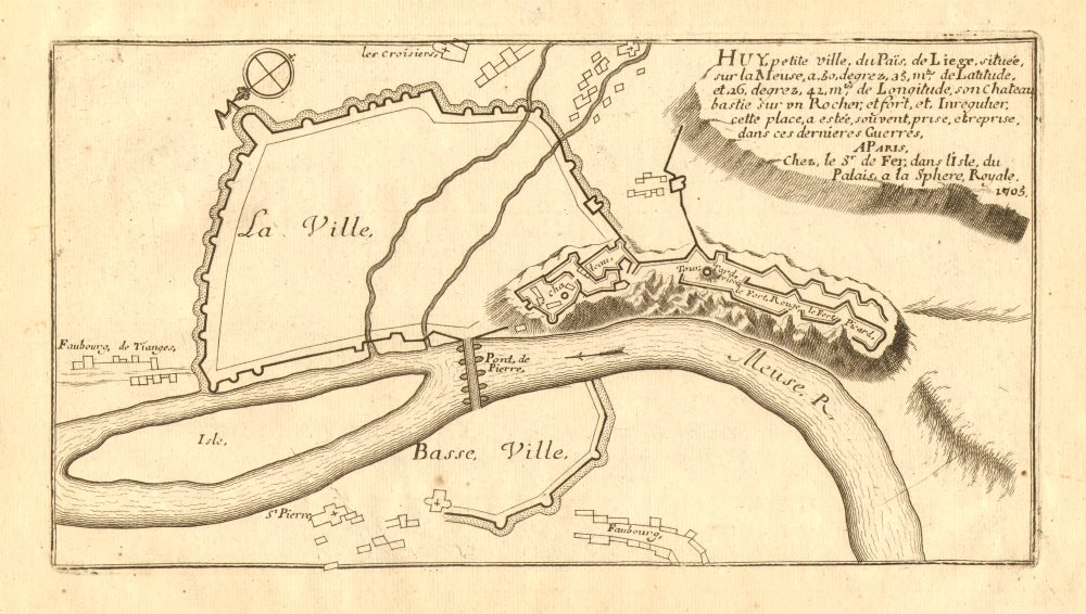 Associate Product Huy. Plan of town/city & fortifications. Belgium. DE FER 1705 old antique map