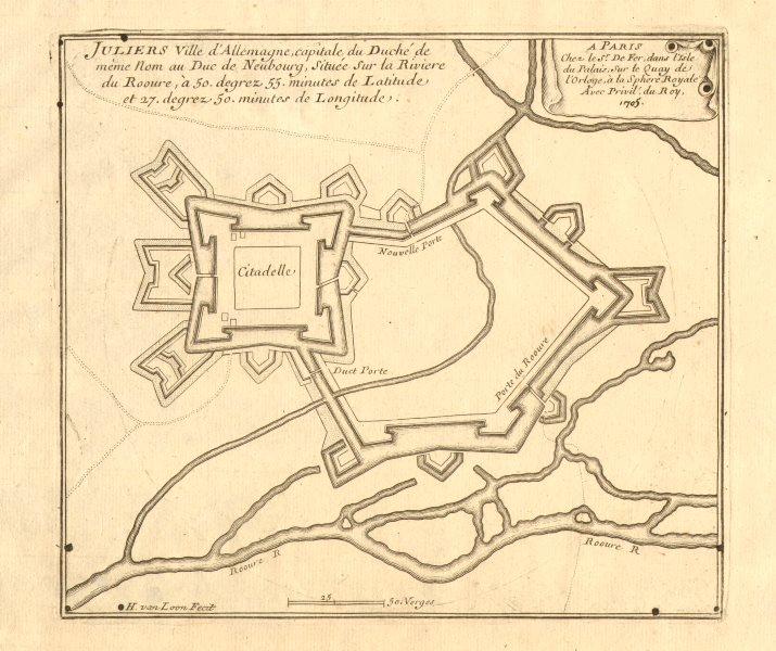 Associate Product 'Juliers, ville d'Allemagne…'. Jülich fortified town/city plan. DE FER 1705 map