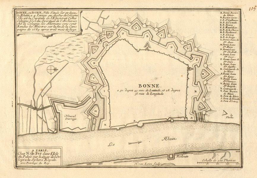 Associate Product 'Bonne, ou Bonn' fortified town/city plan. Northrhine-Westfalia. DE FER 1705 map