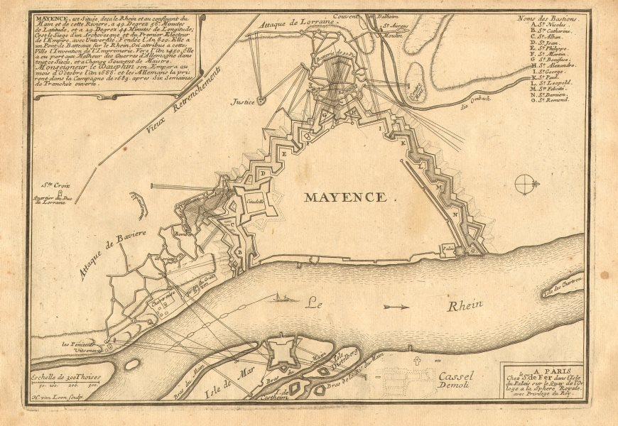 Associate Product 'Mayence'. Mainz. Plan of town/city & fortifications. Germany. DE FER 1705 map