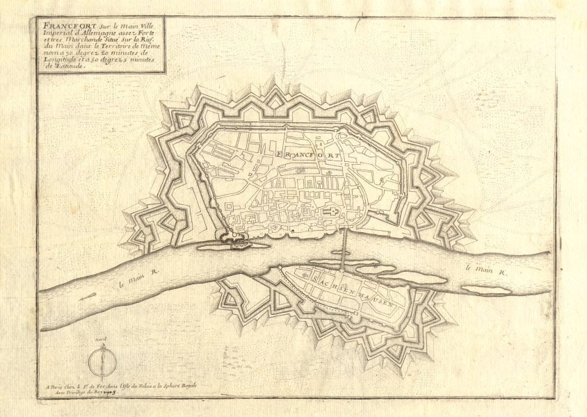 Associate Product 'Francfort'. Frankfurt am Main. Fortified town/city plan. DE FER 1705 old map