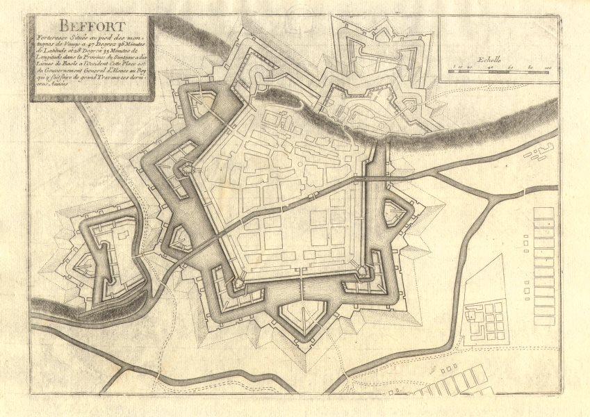 Associate Product 'Beffort'. Belfort. Fortified town/city plan. France. DE FER 1705 old map