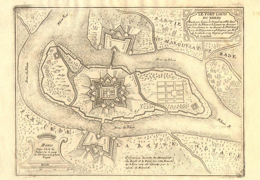 Associate Product 'Le Fort Louis du Rhein'. Fort-Louis, Bas-Rhin. DE FER 1705 old antique map