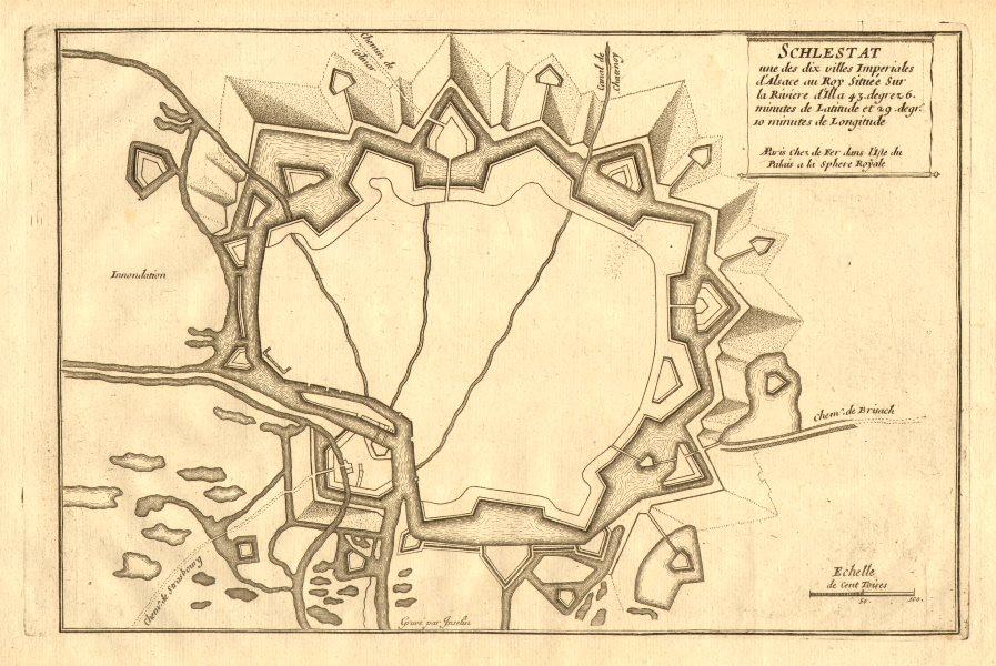 Associate Product 'Schlestat'. Sélestat. Fortifed town/city plan. Bas-Rhin. DE FER 1705 old map