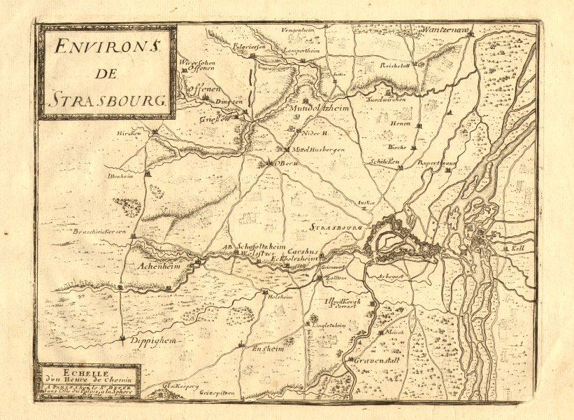 Associate Product 'Environs de Strasbourg'. Strasbourg environs. Bas-Rhin. DE FER 1705 old map
