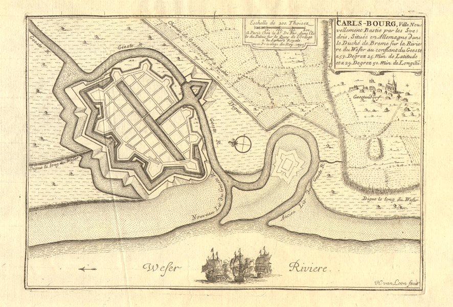 Associate Product 'Carls-Bourg', now Bremerhaven. Carlsburg town/city plan. DE FER 1705 old map