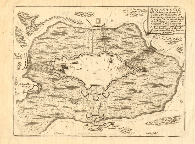 Associate Product 'Ratzebourg'. Ratzeburg 1693 bombardment. Schleswig-Holstein. DE FER 1705 map