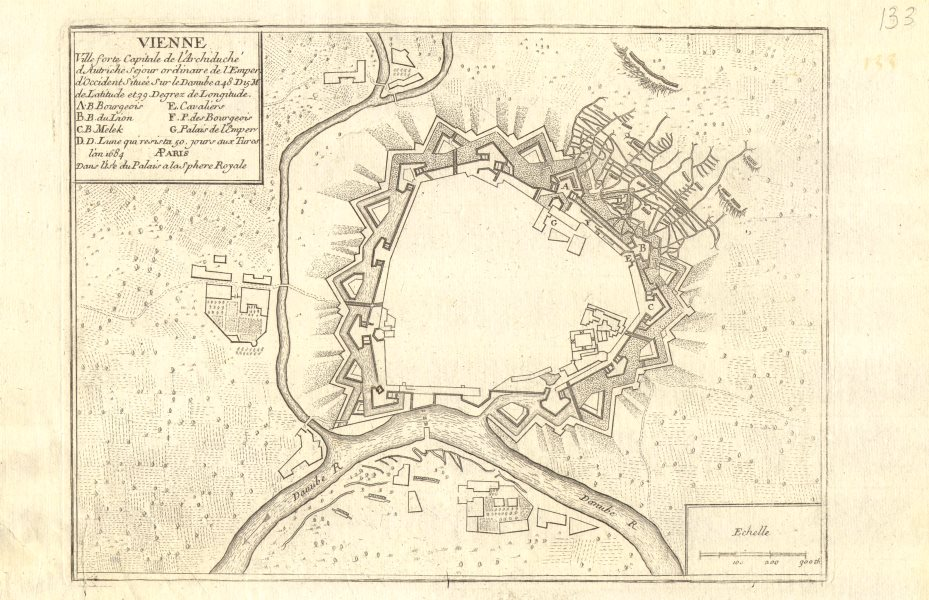'Vienne'. Vienna Wien. Fortifed town/city plan. Austria. DE FER 1705 old map