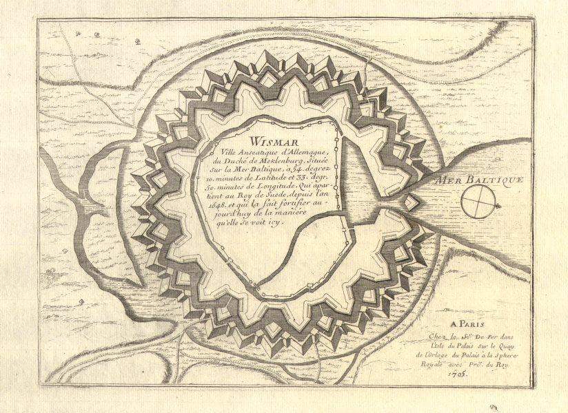 Associate Product 'Wismar'. Fortifed town/city plan. Mecklenburg-Vorpommern. DE FER 1705 old map