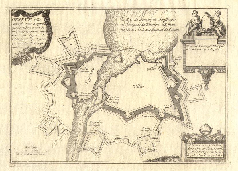 Associate Product 'Geneve'. Geneva Genève Genf town/city plan. Switzerland. DE FER 1705 old map