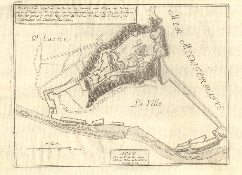 Associate Product Nice. Plan of town/city & fortifications. Alpes Maritimes. DE FER 1705 old map