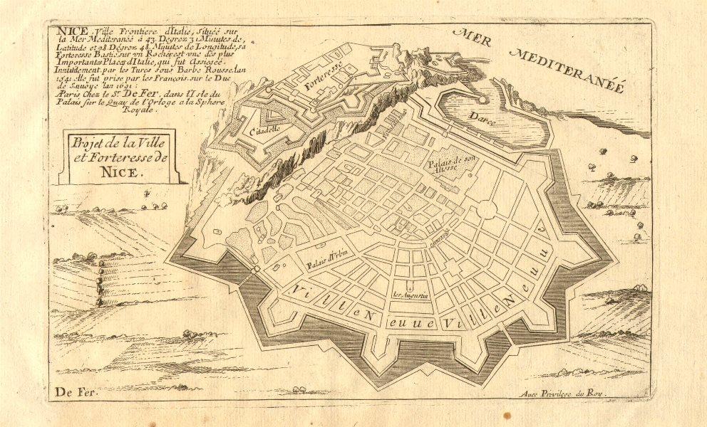 Associate Product 'Ville et forteresse de Nice', Alpes-Maritimes. Planned defences.DE FER 1705 map