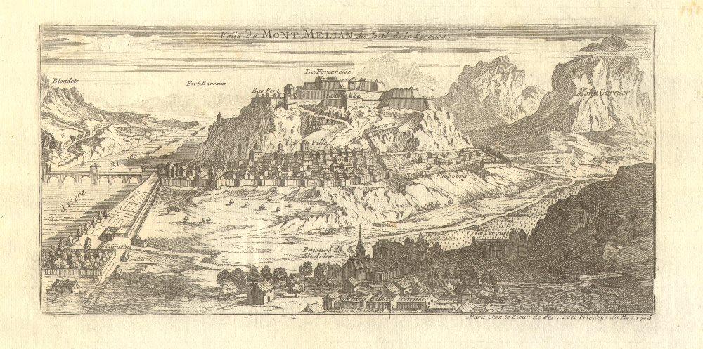 Associate Product 'Veue de Mont Melian du costé de la Perouse'. Montmélian, Savoie. DE FER 1705
