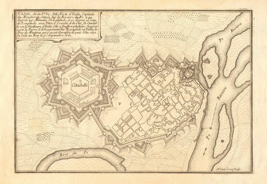 Associate Product 'Casal'. Casale Monferrato. Fortifed town/city plan. Italy. DE FER 1705 map