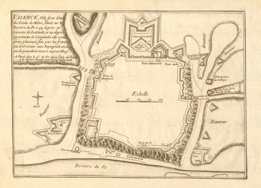 Associate Product 'Valence'. Valenza. Plan of town/city & fortifications. Italy. DE FER 1705 map