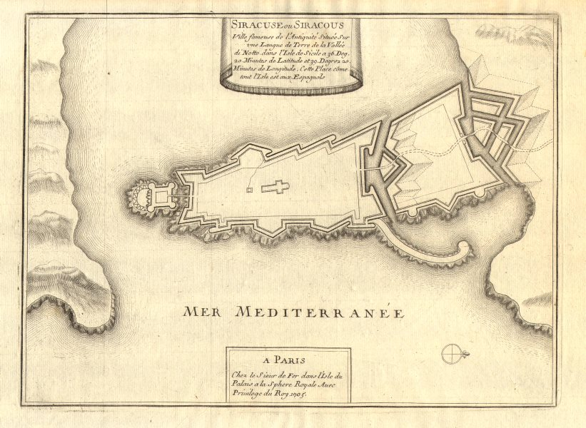 Associate Product 'Siracuse ou Siracous'. Syracuse Siracusa town/city plan. Italy. DE FER 1705 map
