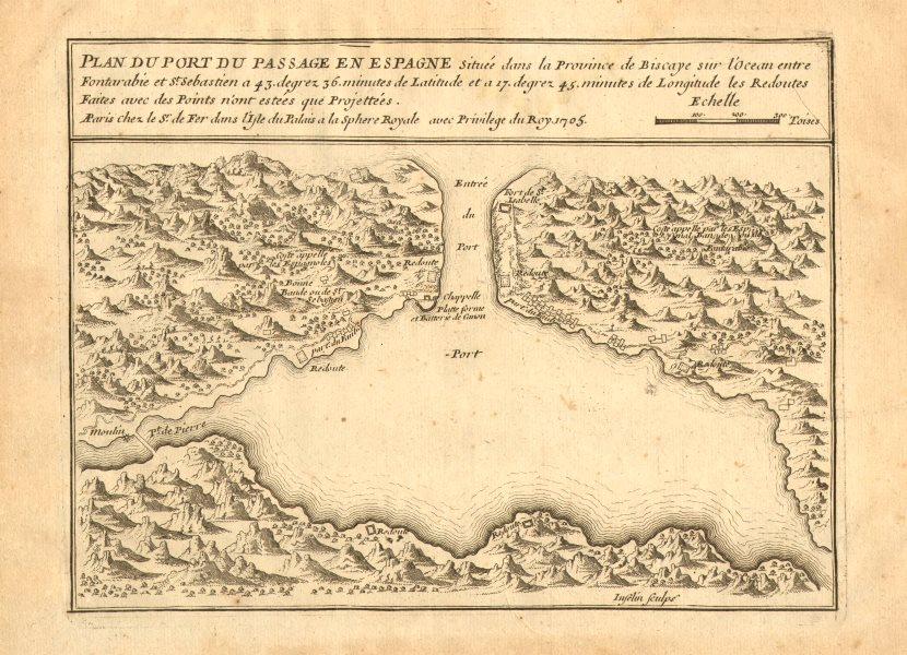 Associate Product 'Plan du Port du Passage en Espagne'. Bay of Pasaia, Vizcaya. DE FER 1705 map
