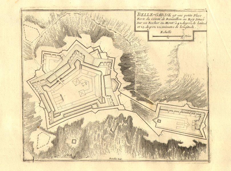 Associate Product 'Belle-Garde'. Fort de Bellegarde plan, Le Perthus, France. DE FER 1705 map