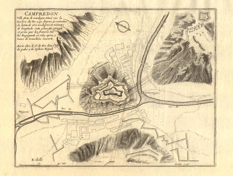 Associate Product 'Campredon'. Camprodon. Fortifed town/city plan. Spain. DE FER 1705 old map