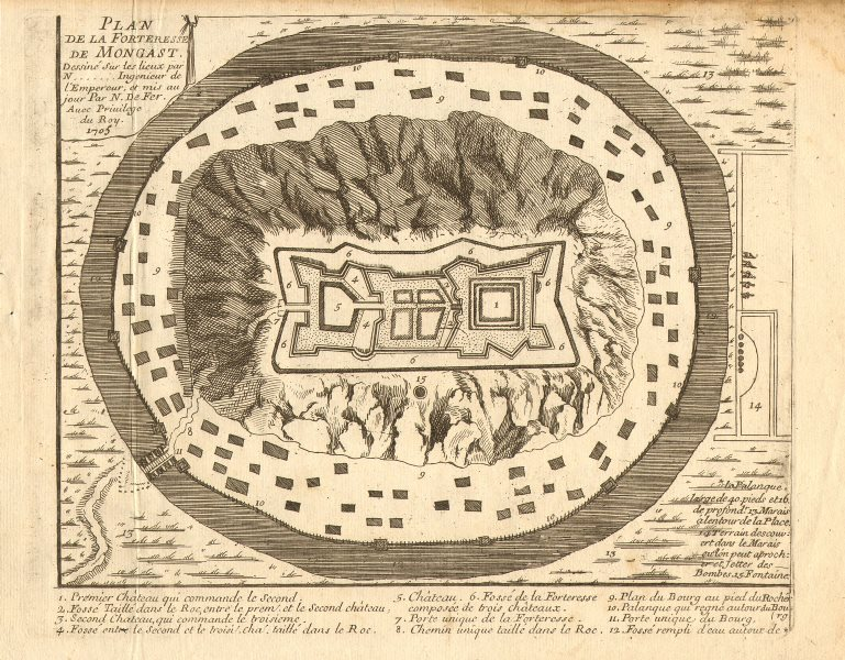 Associate Product 'Forteresse de Mongast'. Munkács Vára Mukachevo Castle. Ukraine. DE FER 1705 map