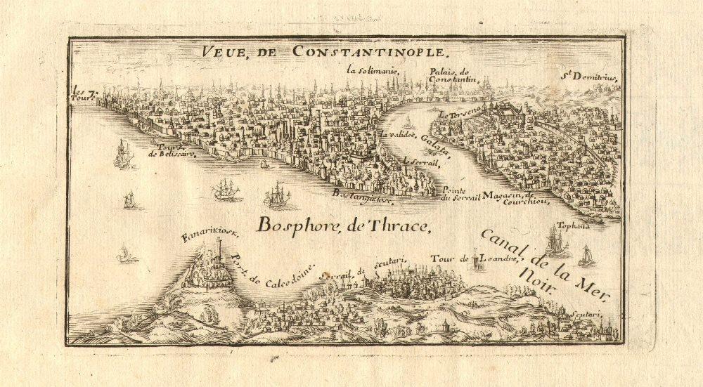 'Veue de Constantinople'. View of Istanbul. Bosphorus Galata Turkey. DE FER 1705