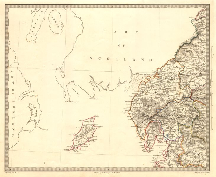 Associate Product NORTH WEST ENGLAND. Lake District Isle of Man Cumbria Westmorland. SDUK 1845 map