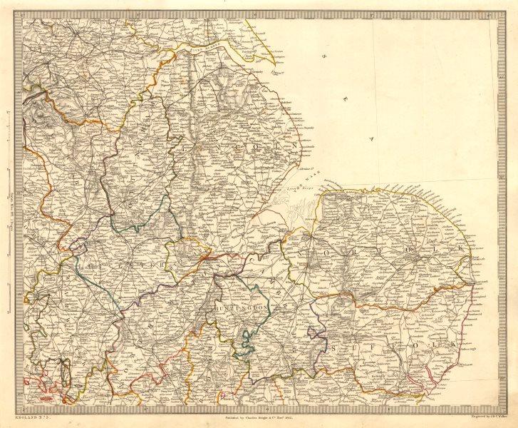 Associate Product ENGLAND EAST. Norfolk Suffolk Cambs Lincs Leics Derbys Notts. SDUK 1845 map