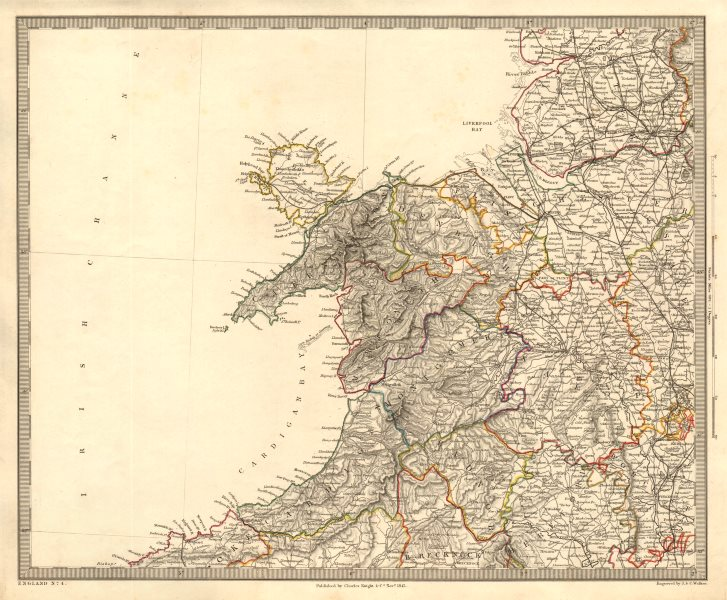 Associate Product NORTH WALES & NW ENGLAND. Shropshire Merseyside Cheshire. SDUK 1845 old map