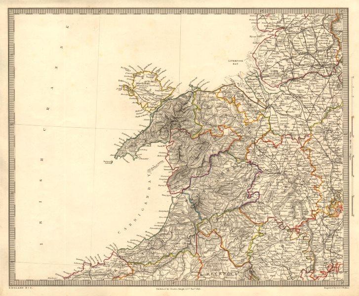 Map Of Nw England.North Wales Nw England Shropshire Merseyside Cheshire Sduk 1845