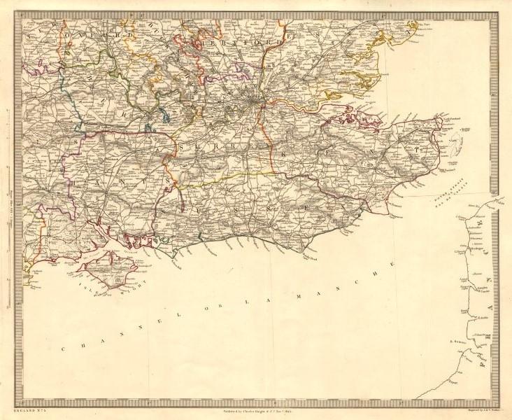Associate Product SOUTH EAST ENGLAND. London & Home counties. Railways. South coast. SDUK 1845 map
