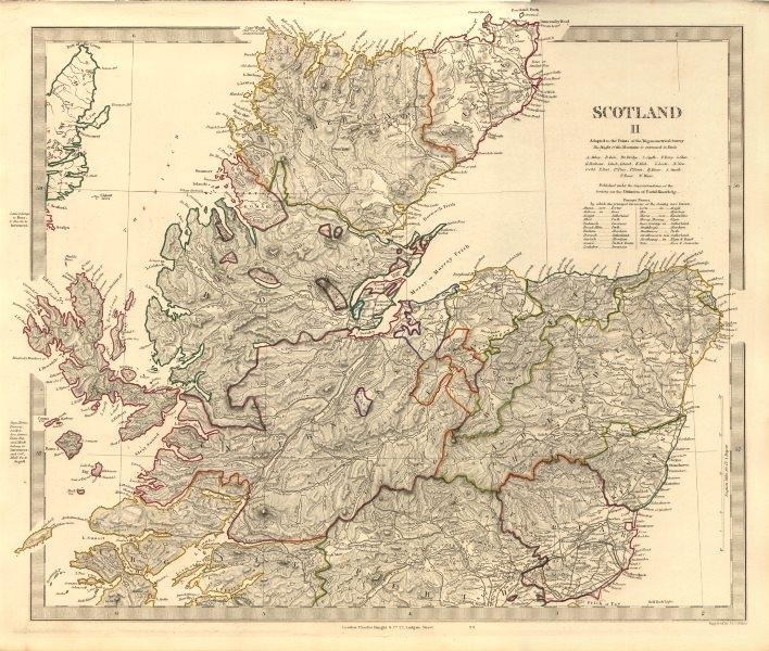Associate Product SCOTLAND NORTH. Castles kirks railways. Inset former county names. SDUK 1845 map
