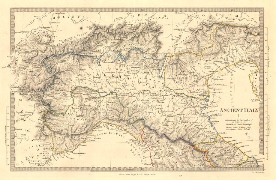 Associate Product ANCIENT ROMAN ITALY NORTH. Liguria Venetia Gallia Cisalpina. Roads.SDUK 1845 map