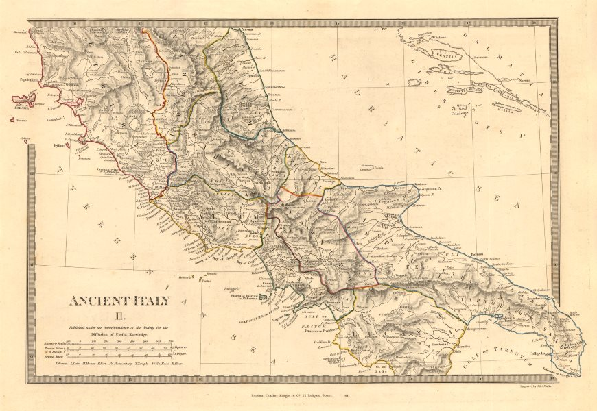 Associate Product ANCIENT ITALY SOUTH. Apulia Latium Sabini Samnium Picenum Etruria. SDUK 1845 map