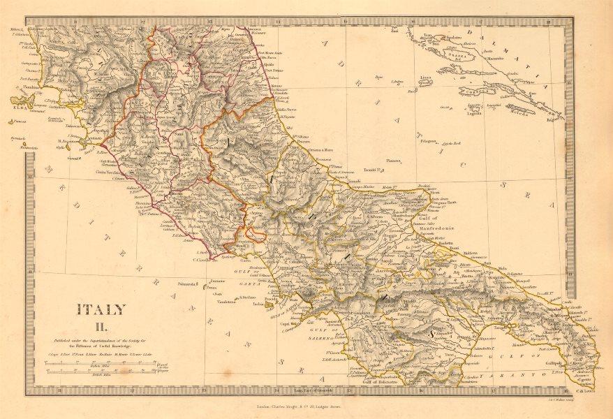 Associate Product ITALY SOUTH. Naples Stato Pontifico Toscana. Original hand colour. SDUK 1845 map