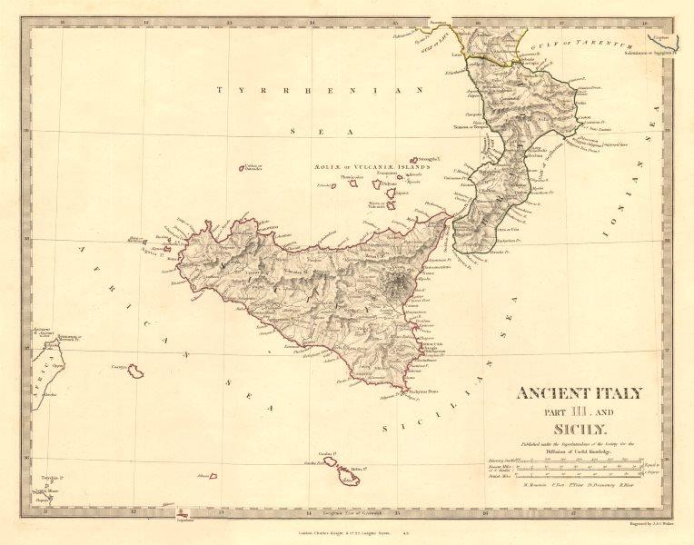 Associate Product ANCIENT ITALY SOUTH. Sicily Brutii Melita Malta. Original colour. SDUK 1845 map