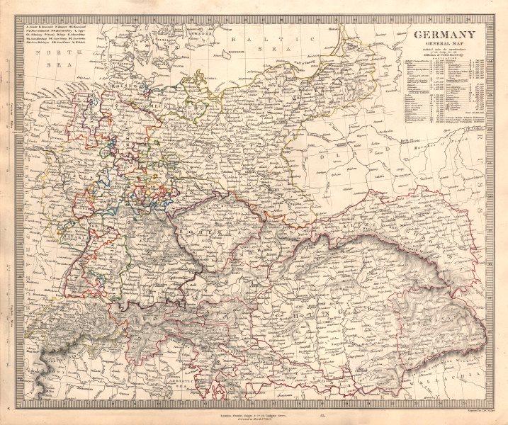 Associate Product GERMANY General Map. Austria-Hungary & Switzerland. Population table. SDUK 1845