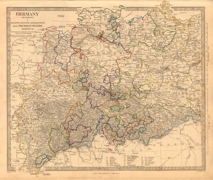Associate Product NORTHERN GERMANY. Holstein Hanover Mecklenburg Prussia Saxony. SDUK 1845 map