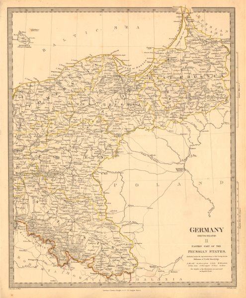 Associate Product EASTERN GERMANY. Prussian States. Silesia Pomerania Deutschland. SDUK 1845 map