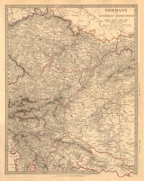 Associate Product AUSTRIAN DOMINION. Bohemia Moravia Styria Illyria Croatia Hungary. SDUK 1845 map