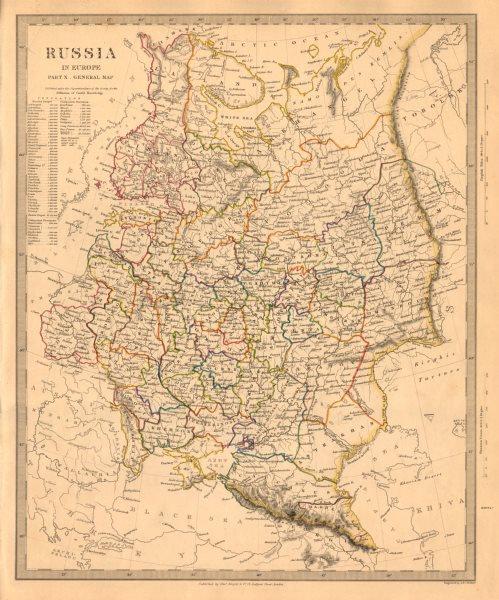 Associate Product RUSSIA. Eastern Europe. Ukraine Belarus Baltics Finland Georgia. SDUK 1845 map